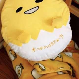 日本蛋黄哥gudetama懒蛋蛋鸡蛋君两用抱枕毯子暖手捂空调毯三合一