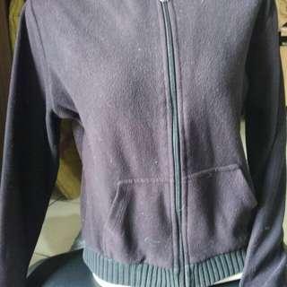 jaket bludru halus / warna purple black /size s fit L / jaket jogging