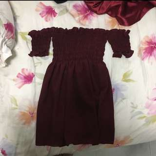 Maroon smocked tunic