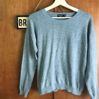Grey sweater pullover with heart shaped elbow patch