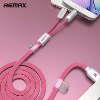 Remax 2 in 1 Magnetic Cable micro USB and lightning (pink)