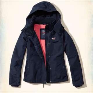 Hollister深藍風衣外套