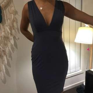 MESHKI grey blue silk dress