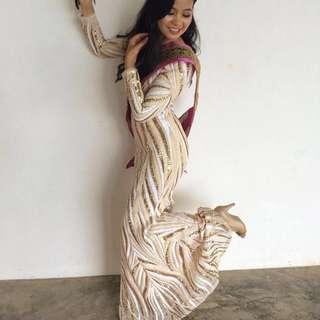 Zalia Sequin Mermaid Dress in Gold (RENTAL)