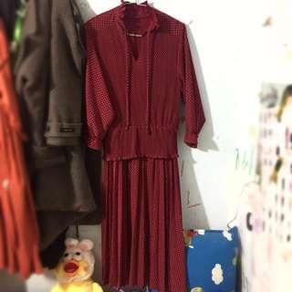 🔴私物🔴紅底白點波點荷葉領荷葉袖荷葉腰身古著洋裝