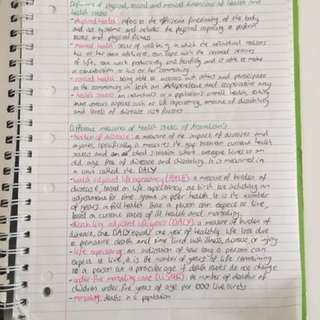 VCE 2016 Health and Human Development Units 3&4 Notes