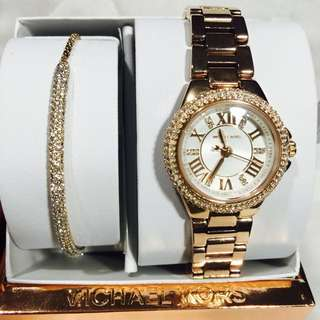 Michael Kors Camille Rose Gold silver Dial Ladies watch Gift set