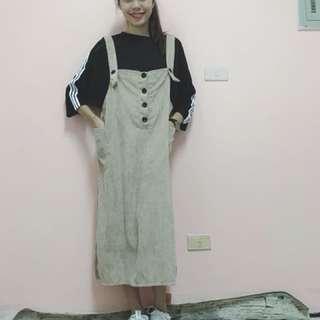 燈芯絨復古吊帶裙