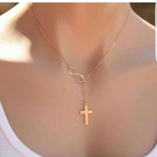 Infinity cross gold necklace