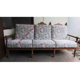 Sofa tamu 3 seater + 2 single - kayu jati madiun