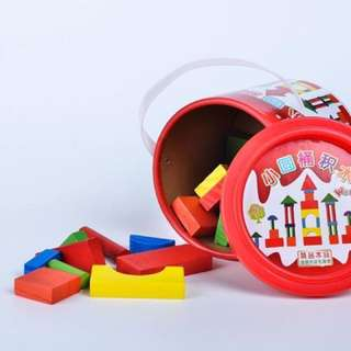 31pc mini wooden block with container