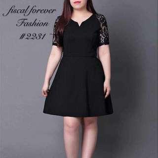 Black lace sleeves dress