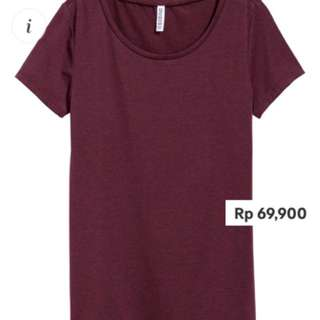 H&M BASIC DIVIDED JERSEY TOP IN PLUM & SIZE S