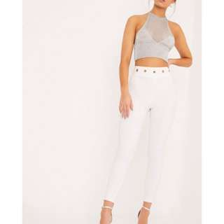 White eyelet detail trousers
