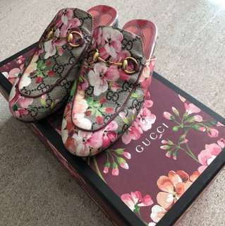 Gucci princeton bloom slippers slip on loafers rose sakura pink