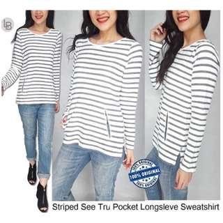TABLOTS Striped See Tru Pocket Longsleve Sweatshirt