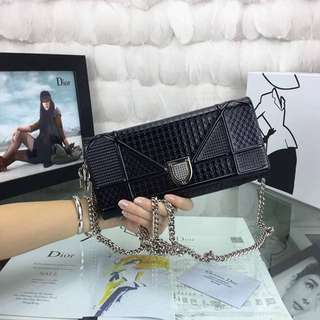 Christian Dior Diorama Perforated Chain Wallet (WOC)
