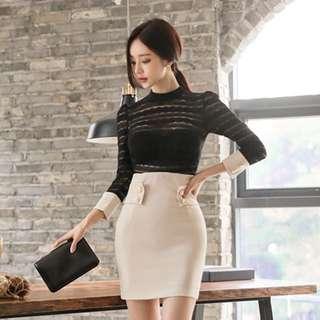 🚚 秋裝新款性感蕾絲拼接修身洋裝M號