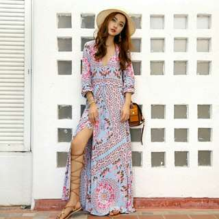 BOHEMIAN MAXI SLIT DRESS IN PINK AND BLUE