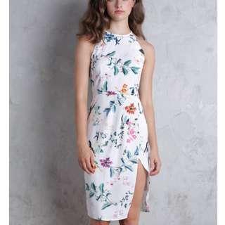 Karia Tulip Dress (White Florals)