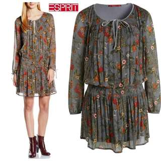 ESPRIT EDC Grey Orange Flower Dress