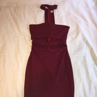Maroon Midi Choker Dress