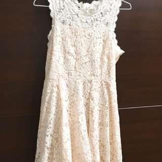 白色無袖蕾絲洋裝