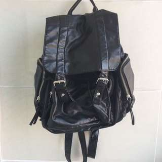 ruby & kit black faux leather backpack