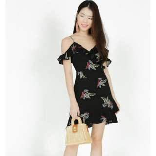 MDS Frill Cami Dress in Black Feather S