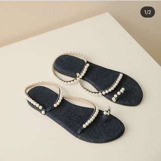 Denim jeans sandal