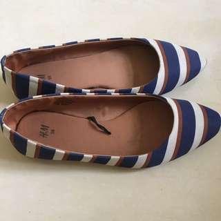 (二手)h&m條紋平底鞋💙