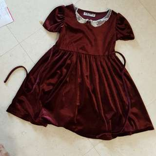 Dress - Wine Red Velvet Material with lace collar