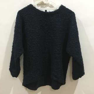 Topshop Navy Wool Sweat