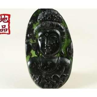 天地 藝品 天然 正 A 貨 新疆 和闐 墨玉 精雕 ( 觀音 菩蕯 ) 珠鍊 大 玉珮 K426 私藏 品 割愛 !
