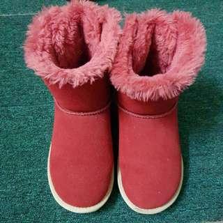 後綁帶毛毛雪靴紅色