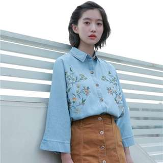 Denim Light Blue Coloured Floral Embroidered Designed Top