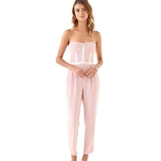 CAMILLA AND MARC SALMON PINK & WHITE CASTLE STRAPLESS CROP PANTS JUMPSUIT 10