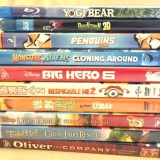 Kids Movie DVD stack