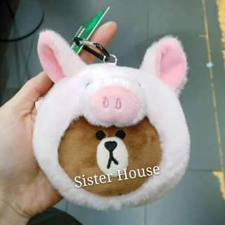 (包郵)🇰🇷LINE Friends Piggy Brown Coin Bag 豬仔恐龍散紙包