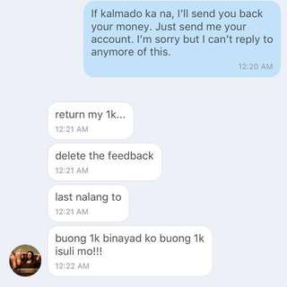 Conversation between me and the seller who gave me a negative feedback