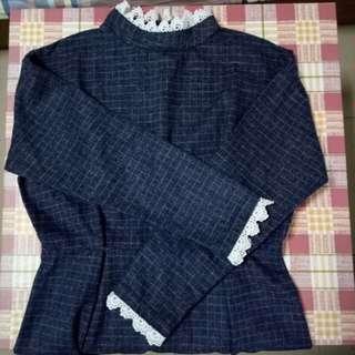 立領格紋洋裝
