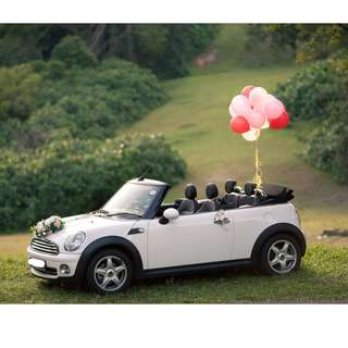 Mini Cooper S Cabriolet bridal car available for rent during weddings/special occasions