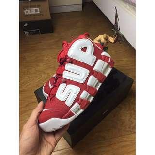Supreme x Nike Air Uptempo 大air聯名 白紅 超限量