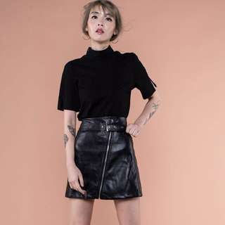 YoungHungryFree Power Leather Skirt in Black