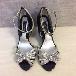 Silver Braided Open-toe Wedge Size 34