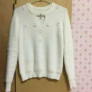 日貨~高質感純白毛衣