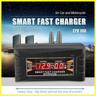 Smart Fast 12v Battery Charger w/LCD Display For Car Motorcycle