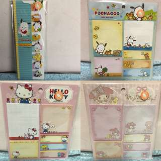 Last PCS Each Hello Kitty My Melody Pochacco Post It Pad Note Pad Set Sticky Memo