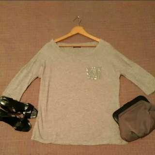 正韓 簡約 時尚 亮片口袋 寬鬆 寬版上衣 M