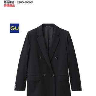 【全新】GU  女裝雙排扣外套(黑)M號 網路賣場購入有商品單